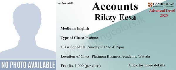 Accounts A/L Tuition in Wattala Cambridge Syllabus