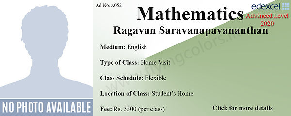 Home Visit Mathematics Edexcel A Level Tuition in Colombo Sri Lanka