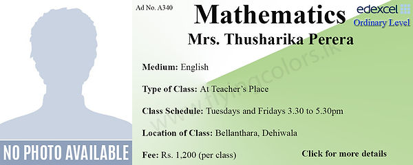 Edexcel O/L Mathematics Tuition in Dehiwala Bellanthara