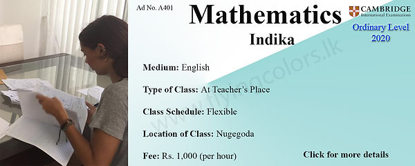 Mathematics Tuition for Cambridge O/L 2020 by Ms.Indika in Nugegoda, Colombo.