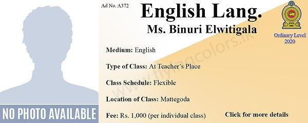 English Language National O Level 2020 Tuition in Mattegoda Colombo