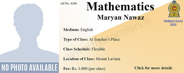 Maths National O Level Tuition in Mount Lavinia