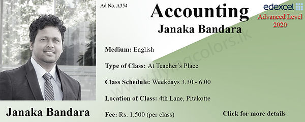 Accounts Tuition in Pitakotte Colombo Edexcel A Level