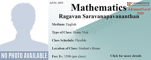 Maths Home Visit Tuition Cambridge A/L in Colombo Sri Lanka