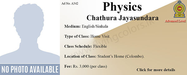 Physics National A/L Home Visit Tuition in Colombo
