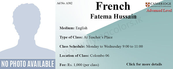 French Tuition in Colombo 6 Cambridge A/L