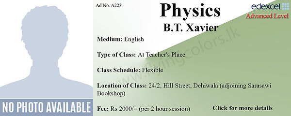 Physics Edexcel A/L Tuition in Dehiwala Colombo