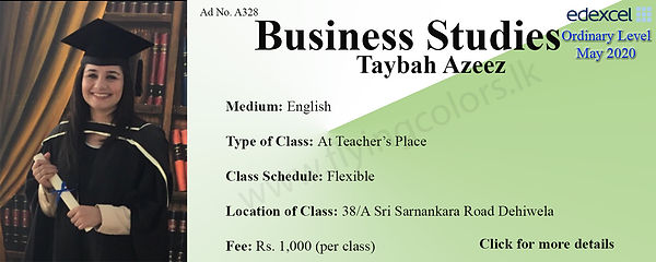 Business Studies Tuition in Dehiwala Edexcel O Level