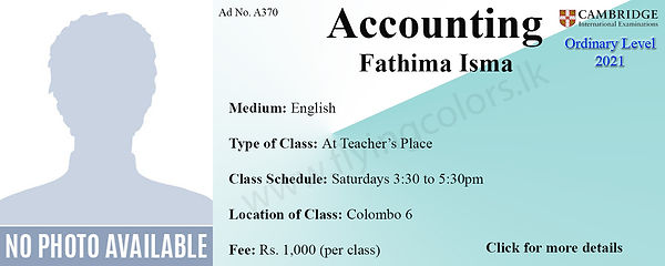 Cambridge O/L Accounts Tuition in Colombo 6 Wellawatte