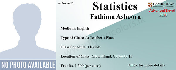 Statistics 2020 Cambridge A Level Tuition by Ms.Ashoora in Colombo 15.