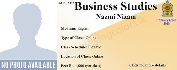 Online Business Studies National O/L Classes by Nazmi Nizam - Colombo.
