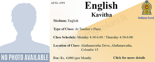 English language Tuition for National O/L by Ms. Kavitha in Colombo 15