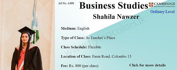 Business Studies Cambridge O/L Tuition by Ms.Shahila in Colombo 15.