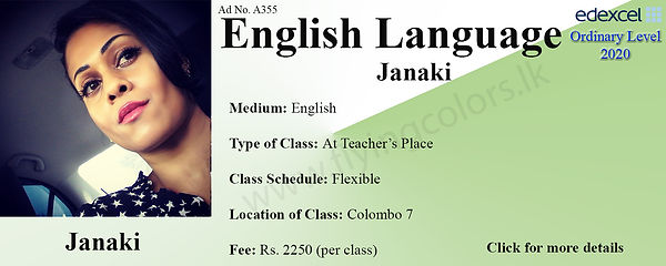 English Language Tuition in Colombo 7 Edexcel O Level