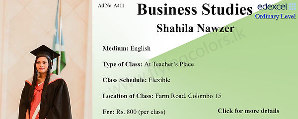 Business Studies Edexcel O/L Tuition by Ms.Shahila in Colombo 15.