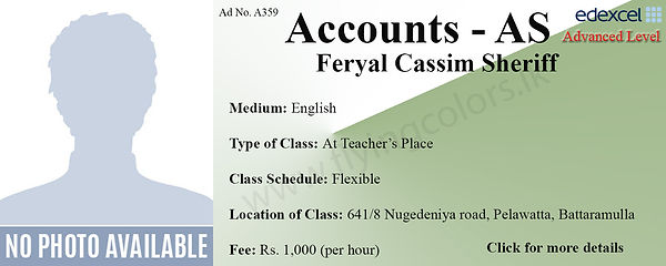 Accounts AS Tuition in Battaramulla Colombo Edexcel ASLevel