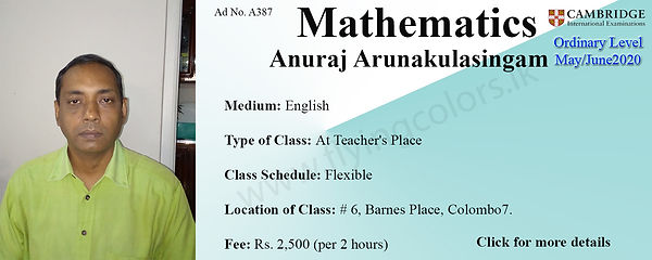 Mathematics Cambridge O/L 2020 Tuition by Mr. Anuraj Arunakulasingam in Colombo 7