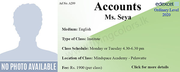 Accounts Edexcel O/L Tuition in Colombo