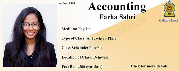 Accounts Tuition in Dehiwala National O Level Colombo