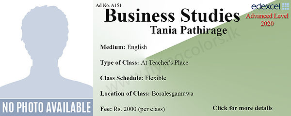 Business Studies Edexcel A/L Tuition in Boralesgamuwa Colombo