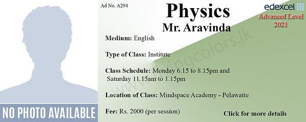 Edexcel A/L Physics Tuition in Colombo