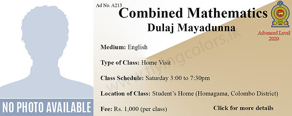 Combined Maths A/L Home Visit Tuition in Colombo