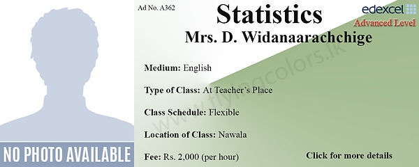 Statistics Edexcel A/L Tuition in Nawala Colombo