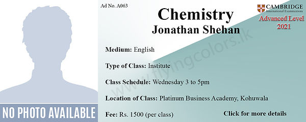 Chemistry 2021 Tuition Cambridge A/L at Platinum Institute Kohuwala Colombo