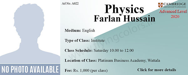 Physics Tuition Cambridge A/L at Platinum Institute Wattala Colombo