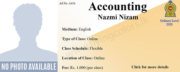 Online Accounting National O/L Tuition by Nazmi Nizam - Colombo.