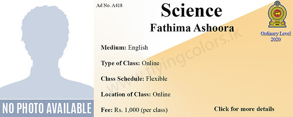 Online Science National O/L Classes by Ms. Ashoora - from Colombo.