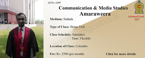 Media and Communication Studies Home Visit Tuition in Maradana Colombo 10