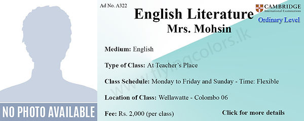 English Literature Cambridge O/L Tuition in Wellawatte Colombo 6