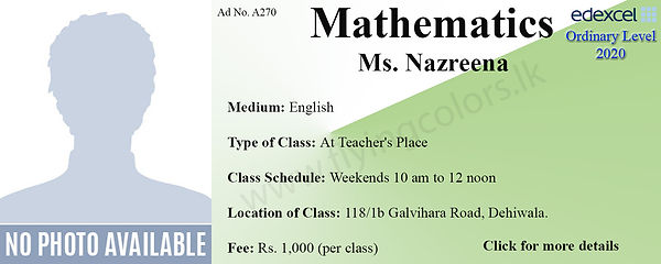 Edexcel Maths O Level Tuition Colombo Sr