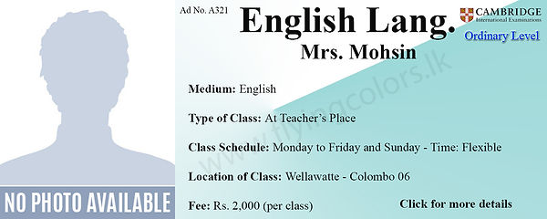 English Language Cambridge O/L Tuition in Wellawatte Colombo 6