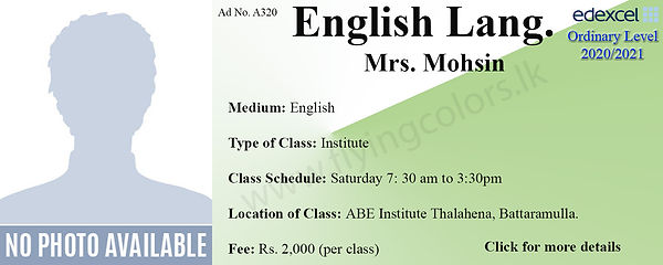 English Language Edexcel O/L Tuition in Battaramulla Colombo by Mrs.Mohsin