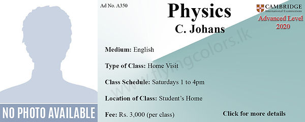 Cambridge A/L Physics Home Visit Tuition in Colombo