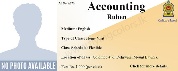 National O/L Accounts Home Visit Tuition in Colombo 4, Colombo 6, Mount Lavinia, Dehiwala