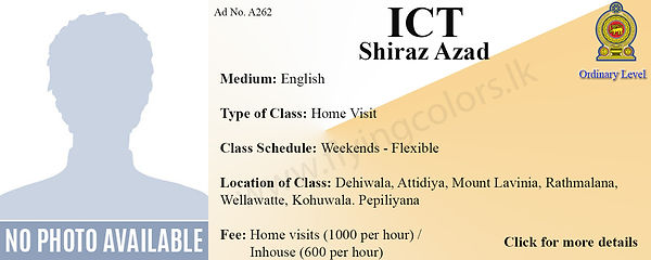 Local OLevel ICT home visit Tuition Sri