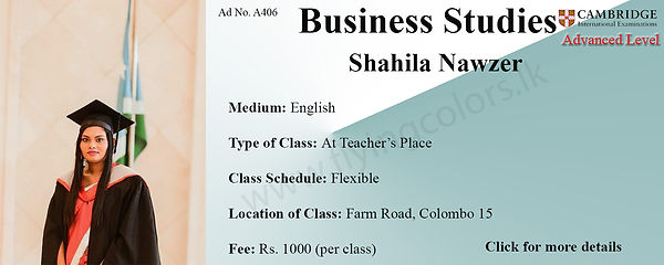 Business Studies Cambridge A/L Tuition by Ms.Shahila in Colombo 15.