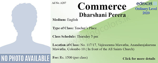 Commerce O Level Tuition in Colombo Sri