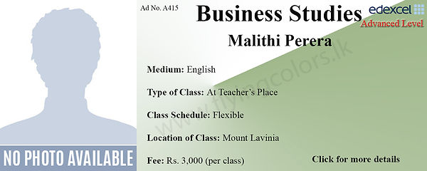 Business Studies Edexcel A/L Tuition by Ms.Malithi in Mount Lavinia Colombo.