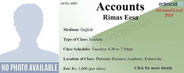 Platinum Business Academy Accounts A Level Tuition in Kohuwala