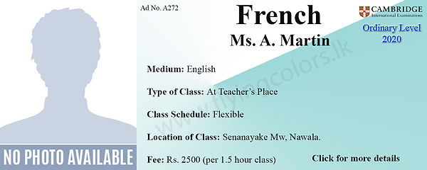 French Tuition in Colombo SriLanka Cambridge O Leve