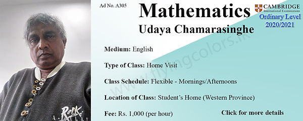 Maths Cambridge O/L Home Visit Tuition