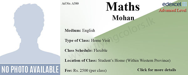 Maths O/L Home Visit Tuition in Colombo Edexcel O Level