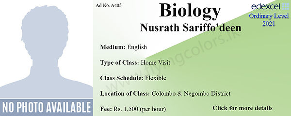 Biology Home Visit Edexcel O/L Tuition by Ms.Nusrath in Colombo and Negombo District.
