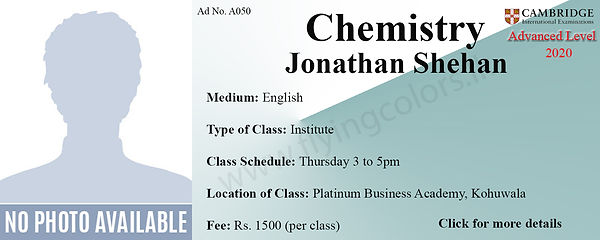 Chemistry 2020 Tuition Cambridge A/L at Platinum Institute Kohuwala Colombo