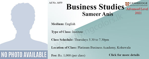Business Studies Tuition Cambridge A/L at Platinum Institute Kohuwala Colombo