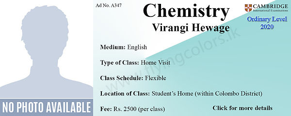 Chemistry Home Visit Tuition in Colombo | Cambridge O/L